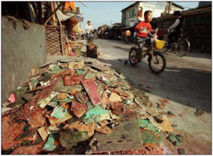 贫穷国家路旁的电子垃圾