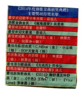 2014年度劲歌金曲颁奖典礼得奖名单